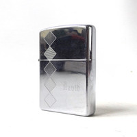 vintage 1990's zippo lighter chrome silver argyle david personalized smoking cigarettes cigar retro modern metal mens womens collectible