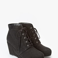 Faux Suede Wedge Booties (Wide)
