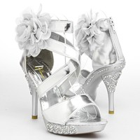 Glamorous Womens DIAMOND10 Open Toe High Heel Sandal, Silver PU Leather