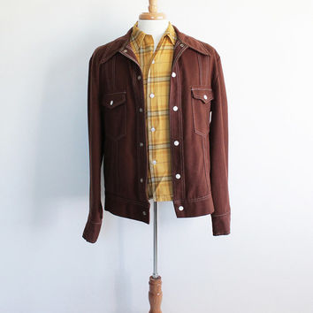 Vintage 70s Men's Western-Style Lightweight Jacket | medium tall