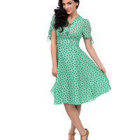 1930s Style Green Kandi Scottie Dog Swing Dress