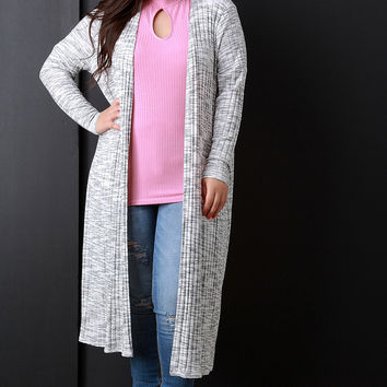 Marled and Ribbed Longline Open Front Cardigan