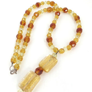 Amber Glass Beaded Necklace, Vintage Gold Clear Amber Pendant Necklace