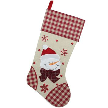 "17"" Burlap Embroidered Snowman Christmas Stocking with Red Gingham Cuff"