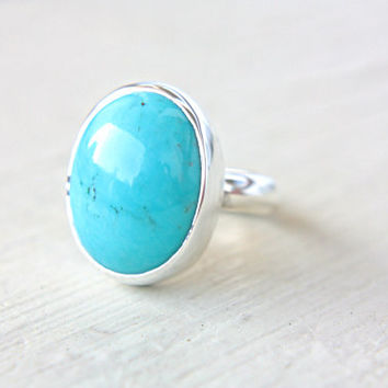 Persian Turquoise Ring Statement Turquoise Ring Sterling Silver Ring Silversmithed Metalsmithed