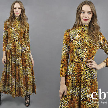Leopard Jumpsuit Cheetah Jumpsuit 1970s Jumpsuit 70s Jumpsuit Wide Leg Jumpsuit Disco Jumpsuit Big Cat Print Animal Print Jumper M L