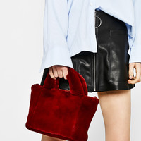Mini faux fur tote - Bags - Bershka United States