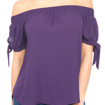 OFF THE SHOULDER TOP WITH TIE SLEEVES