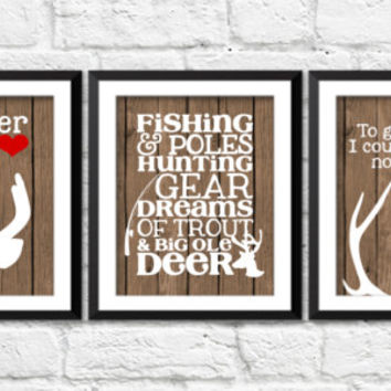deer art prints, to go to sleep I count antlers not sheep, hunting fishing nursery decor, so deer to my heart art, antlers deer nursery art