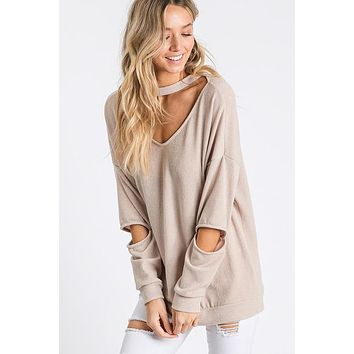 Cut Out Mock Neck Top - Sand