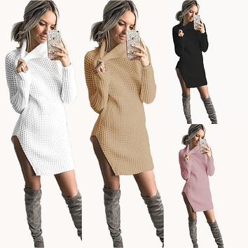 Autumn Winter Dress 2017 Vestidos High Neck Strap Casual Dress Femal Party Dresses For Women