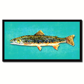 Brook Trout Fish Art Aqua Canvas Print Picture Frames Home Decor Nautical Fisherman Gifts