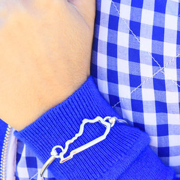 blue moon of kentucky bracelet, silver kentucky state outline bangle