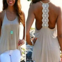 Summer Slim Spaghetti Strap Backless Hot Sale Plus Size Camisole Tank Top = 5839447681