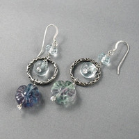 Flower earrings. Fluorite earrings, sterling silver, aqua