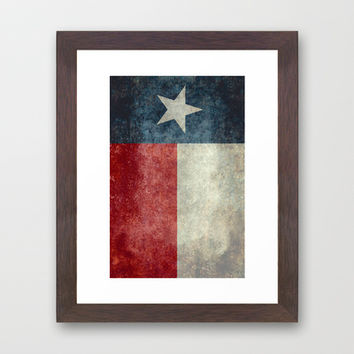 Texas state flag, Vertical retro vintage version Framed Art Print by LonestarDesigns2020 - Flags Designs +