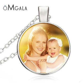 Personalized Photo Pendants Custom Necklace Photo of Baby Child Mom Dad Grandparent Loved Gift for Family Members Glass Cabochon