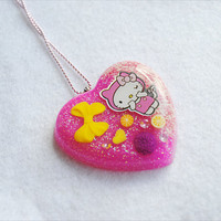 Kawaii Hello Kitty Pink Candy Heart Resin by CapricaAccessories