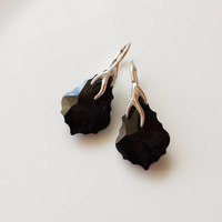 Sterling silver Swarovski Baroque drop earrings jet black colour