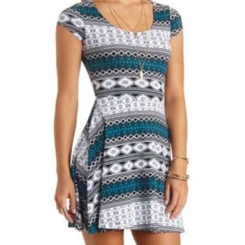 Caged-Back Tribal Print Skater Dress by Charlotte Russe - Black Combo