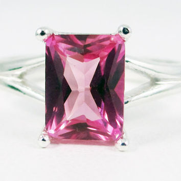Pink Sapphire Emerald Cut Ring Sterling Silver, September Birthstone Ring, Emerald Cut Pink Sapphire Ring, 925 Sterling Silver Ring
