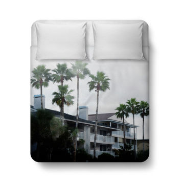 Beach Casitas 2 - Duvet Cover, Tropical Green Palm Trees Bedding, Surf Style Boho Chic Bedroom Throw Cover Accent. In Twin Full Queen King