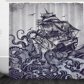 Vintage Whimsical Nautical Ship Sea Monster Shower Curtain Fabric 72 x 72