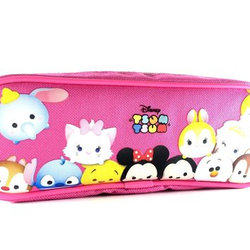 Disney Tsum Tsum Pencil Case Zippered Pouch Bag-Pink