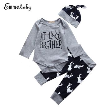Lovely Newborn Baby Boy Family Matching Outfits Little Brother Bodysuit Big Brother T-shirt+Long Pants Clothes 2017 Casual Set