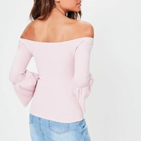 Missguided - Pink Ribbed Flared Sleeve Bardot Top