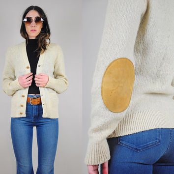 50's wool + MOHAIR suede elbow patch sweater