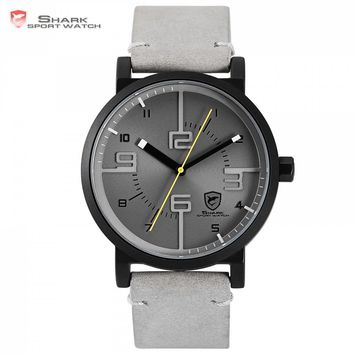 Bahamas Saw SHARK Sport Watch Grey Relogio Masculino Simple 3D Analog Special Number Men Quartz Crazy Horse Leather Clock /SH571