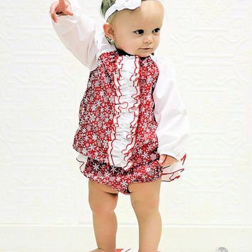 Baby Top Peasant Tunic Shirt for Baby Toddler Newborn Red White Snowflakes