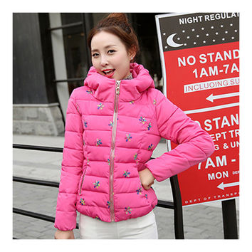 Winter Slim Embroidered Hooded Woman Down Coat   rose    M