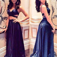 Two Piece Satin A-Line Prom Dresses