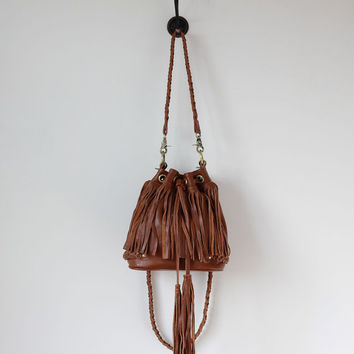 ae2d0afc78 Fringed leather hobo bag in brown
