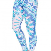 Mandala Printing Fresh Blue Leggings
