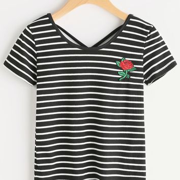 Striped Rose Patch Criss Cross Back Tshirt