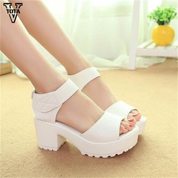 Fashion Women Sandals Summer shoes 2017 wedges Open Toe Thick Heel Mujer Soft PU Women