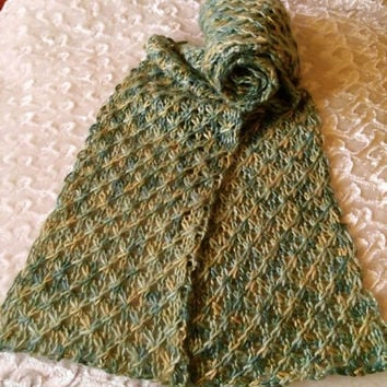 Scarf, Cashmere, Silk, Knit, Soft, Green, Gold
