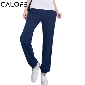 CALOFE 2017 Women Yoga Pants Fitness Sport Leggings Fitness Solid Running Pants Sportswear Joggers Pants Gym Athletic Trousers
