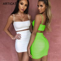 Articat Spaghetti Strap Two Piece Dress Women Ruched Pleated Bodycon Dress Short Strapless Summer Casual Party Dress Vestidos