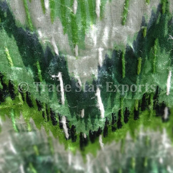 Exclusive Multi Pattern Ikat Kantha Quilt, Indian Cotton Bedspread, Parrot Green Color, Queen Size Reversible Bed Cover / Bed Sheet
