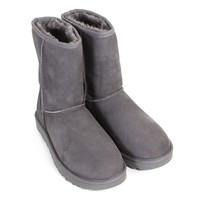 UGG Women's Classic Short II Suede Sheepskin Pull On Boot Grey