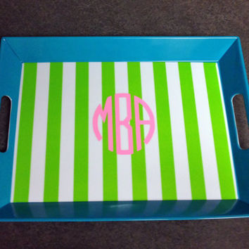 Striped Monogrammed Lunch Tray - Southern, Sorority