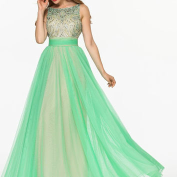 V-Back Prom Dresses, Green Prom Dresses,Long Evening Dress