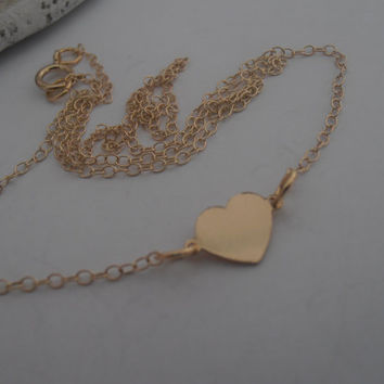 Minimalist Small Heart 14/20Kt Gold Filled Pendant Charm Necklace for modern layering or minimalist wear