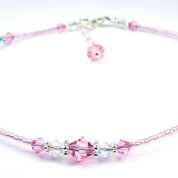Handmade Sterling Silver Crystal Beaded Ankle Bracelet  -  Birthmonth  Pale Pink Tourmaline October