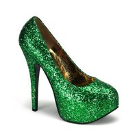 Amazon.com: 5 3/4 Inch Heel Sexy High Heel Shoes Green Glitter Pump Shoes Concealed Platform St Patricks Day: Shoes