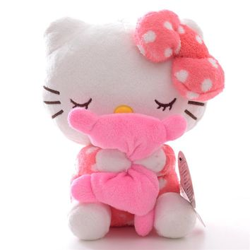 New Arrival Plush Dolls Hello Kitty Plush Pink Hold the Pillow with Sucker Kids for Girls Gifts Doll Toy 7''